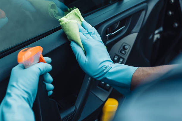 cropped view of car cleaner holding rag and spray bottle while cleaning car door stock photo