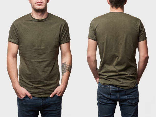 cropped view of tattooed man in basic khaki t-shirt with copy space isolated on white - teeshirt template imagens e fotografias de stock