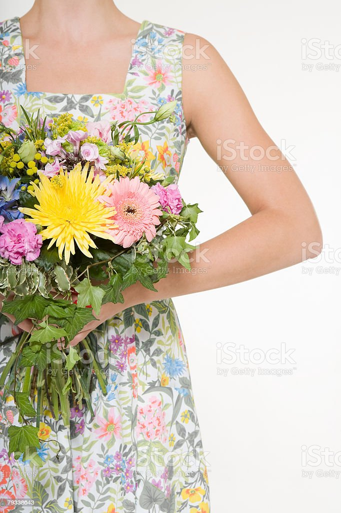Cropped woman holding a bunch of flowers 免版稅 stock photo