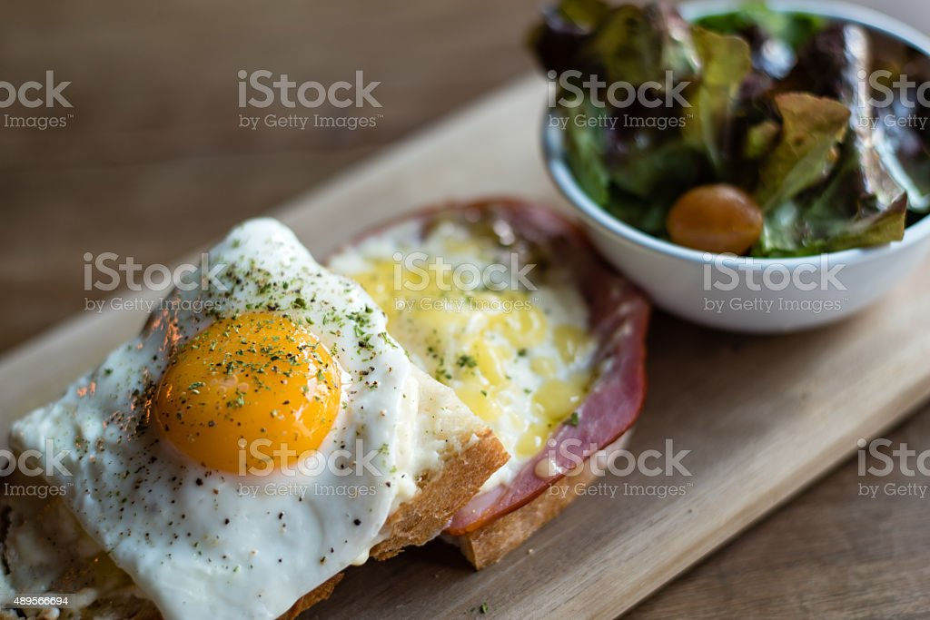 Croque Madam with Green Salad stock photo