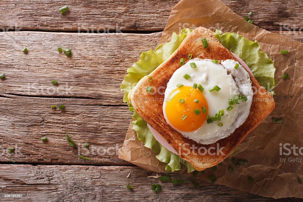 Croque madame sandwich closeup on the table horizontal top view stock photo