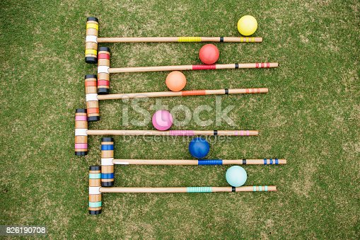 Croquet Set with colored balls and mallets