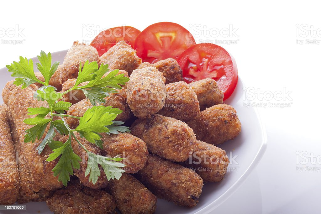 Croquettes on a plate royalty-free stock photo