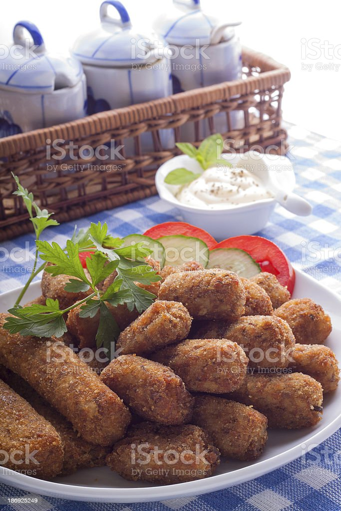 Croquettes on a plate stock photo