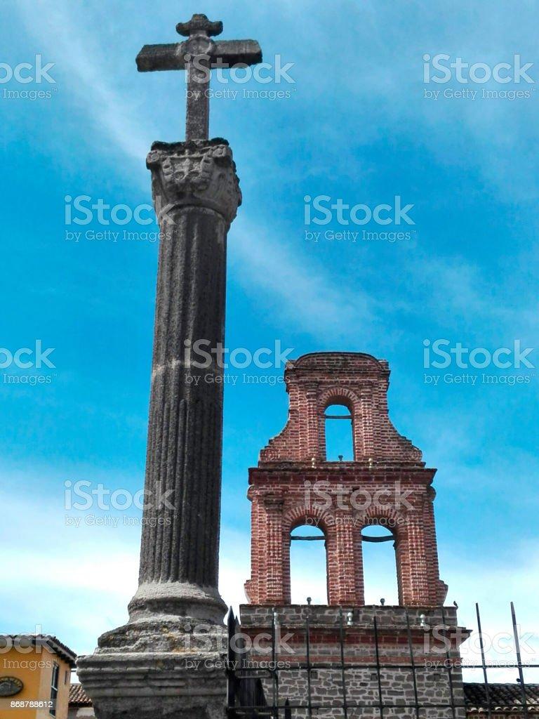 Cross and Bell Gable Santo Domingo church Ayacucho / Cruz y Espadaña stock photo