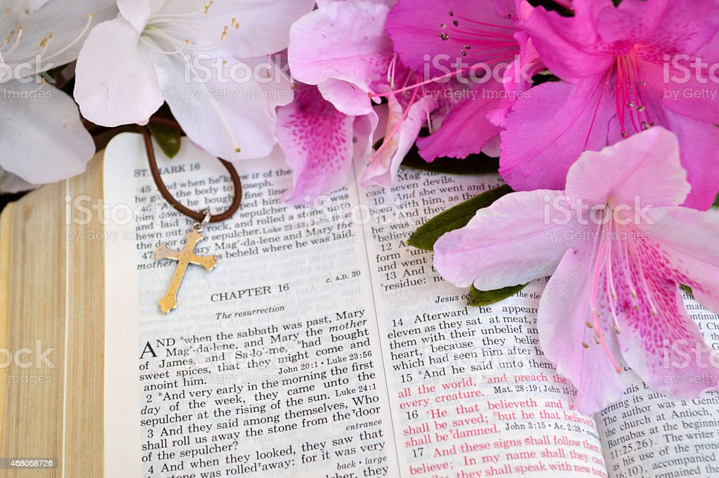 Cross and Bible, Mark 16 Easter background stock photo