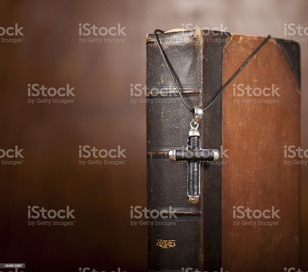 Cross and Bible stock photo
