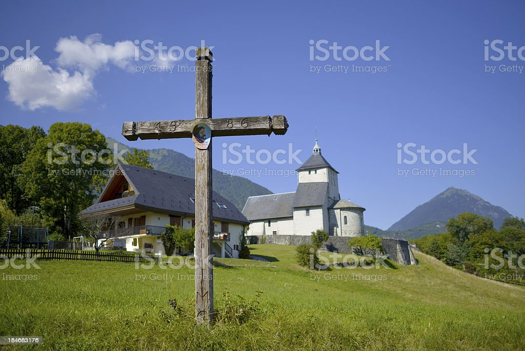 Cross and church royalty-free stock photo