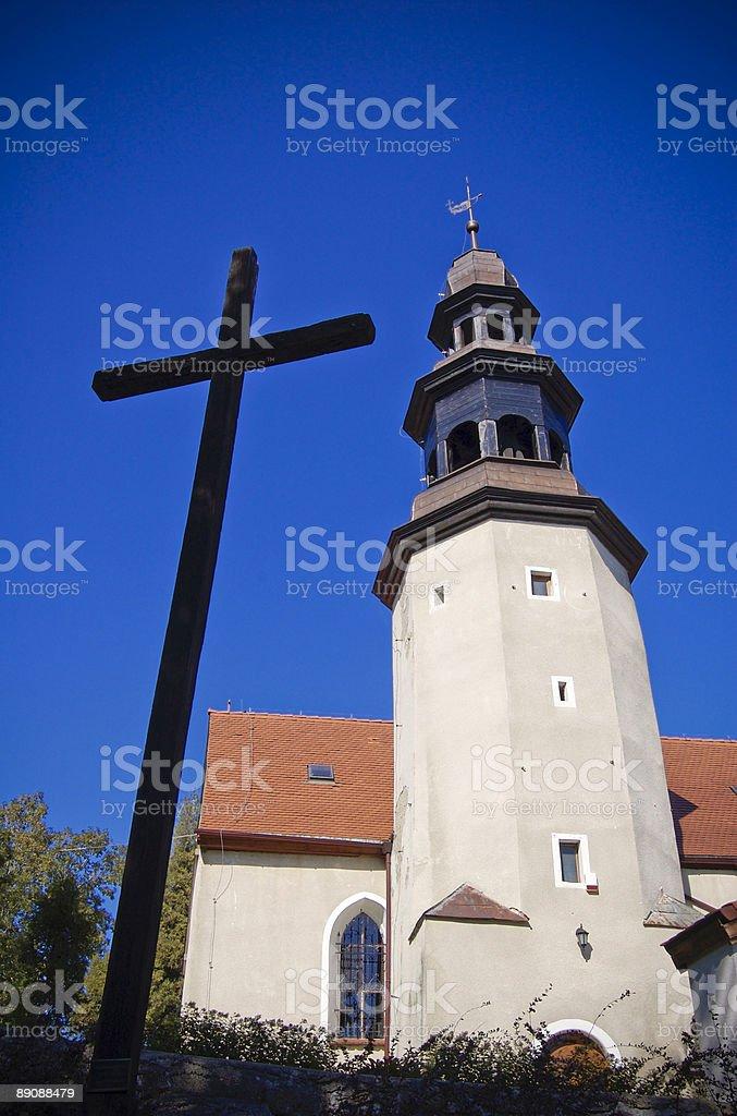 Cross und Kirche Lizenzfreies stock-foto