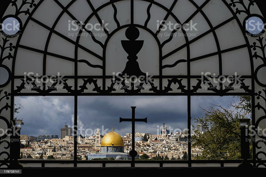 Cross and Crescent - Jerusalem panorama royalty-free stock photo