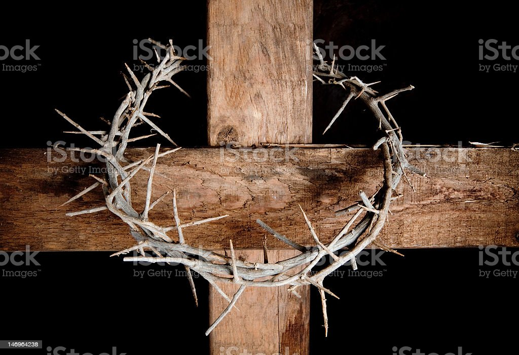 Cross and crown stock photo