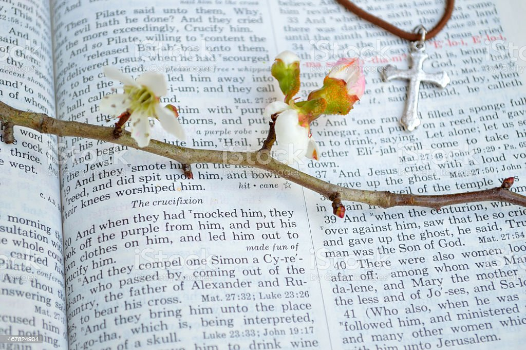Cross and crucifixion scripture background stock photo