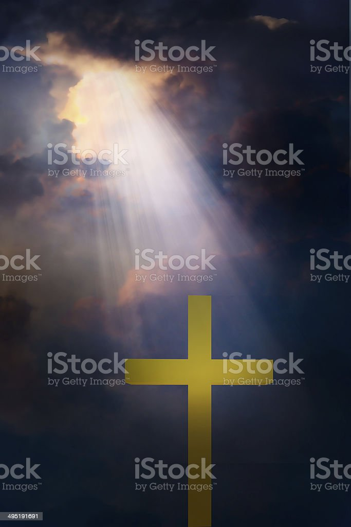 Cross and dramatic sky royalty-free stock photo