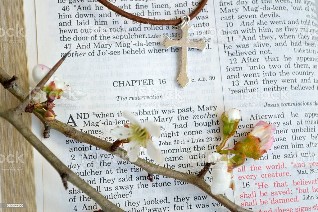 Cross and Easter scripture with flowers stock photo