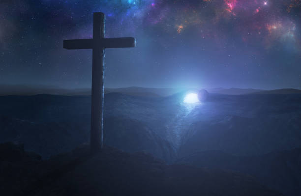 Cross and empty grave A single cross with the empty tomb in the background tomb stock pictures, royalty-free photos & images