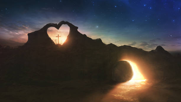 Cross and empty grave Three crosses and an empty grave on Easter morning with a heart shape in the rocks tomb stock pictures, royalty-free photos & images