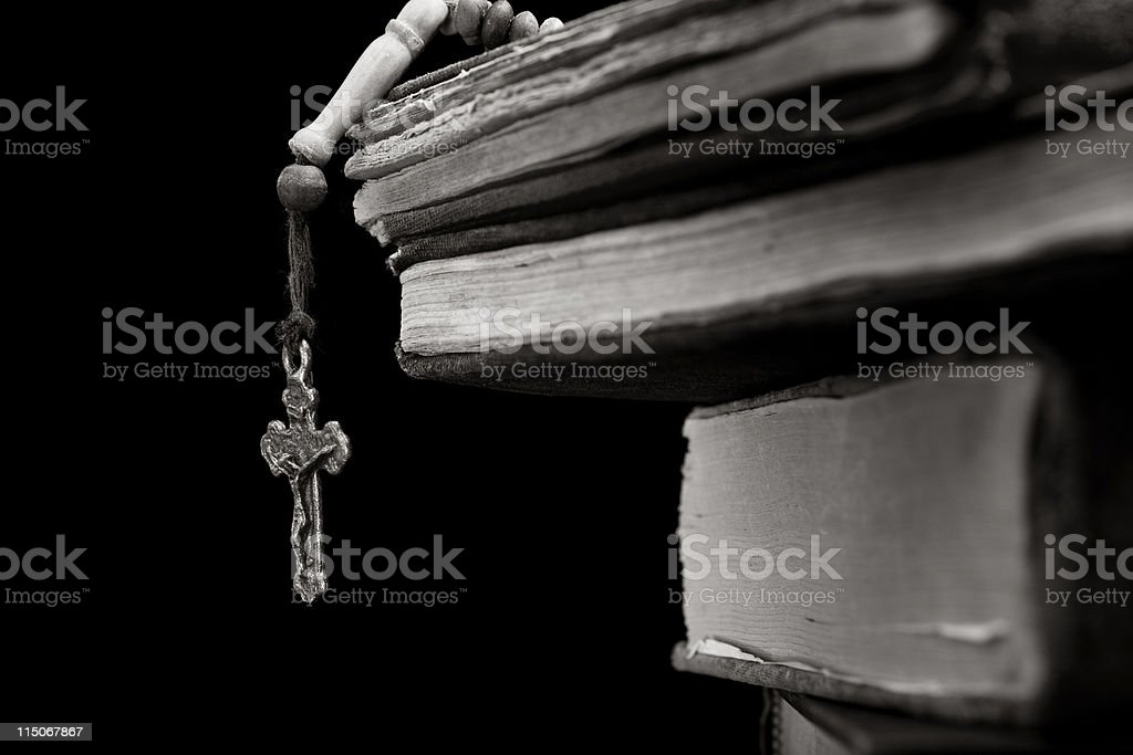 BW Cross And Holy Book stock photo