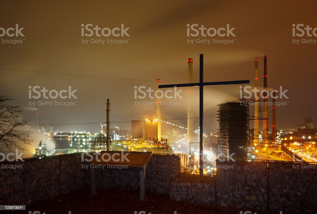 Cross And Industry royalty-free stock photo