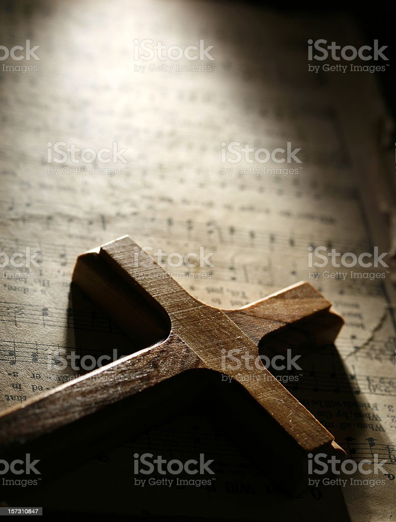 Cross and Old Hymnal royalty-free stock photo