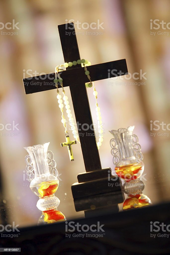 Cross and Rosery royalty-free stock photo