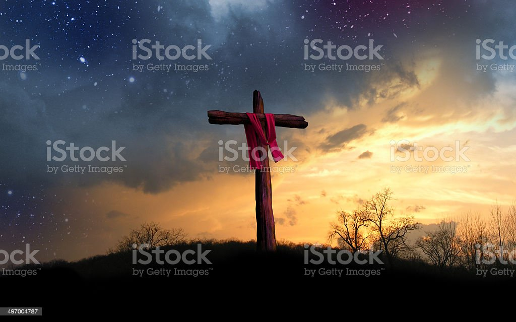 Cross and Starry Night stock photo