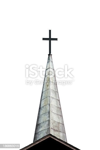 cross and church steeple, isolated on white