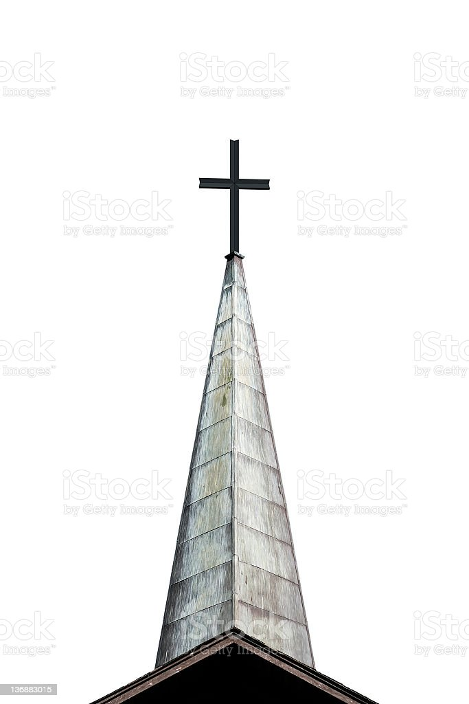 cross and steeple stock photo