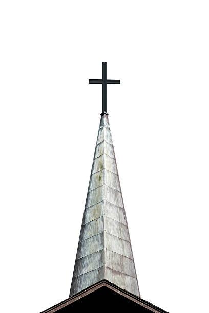 cross und kirchturmspitze - kirchturmspitze stock-fotos und bilder