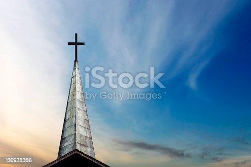 cross and church steeple at dusk (XXL)