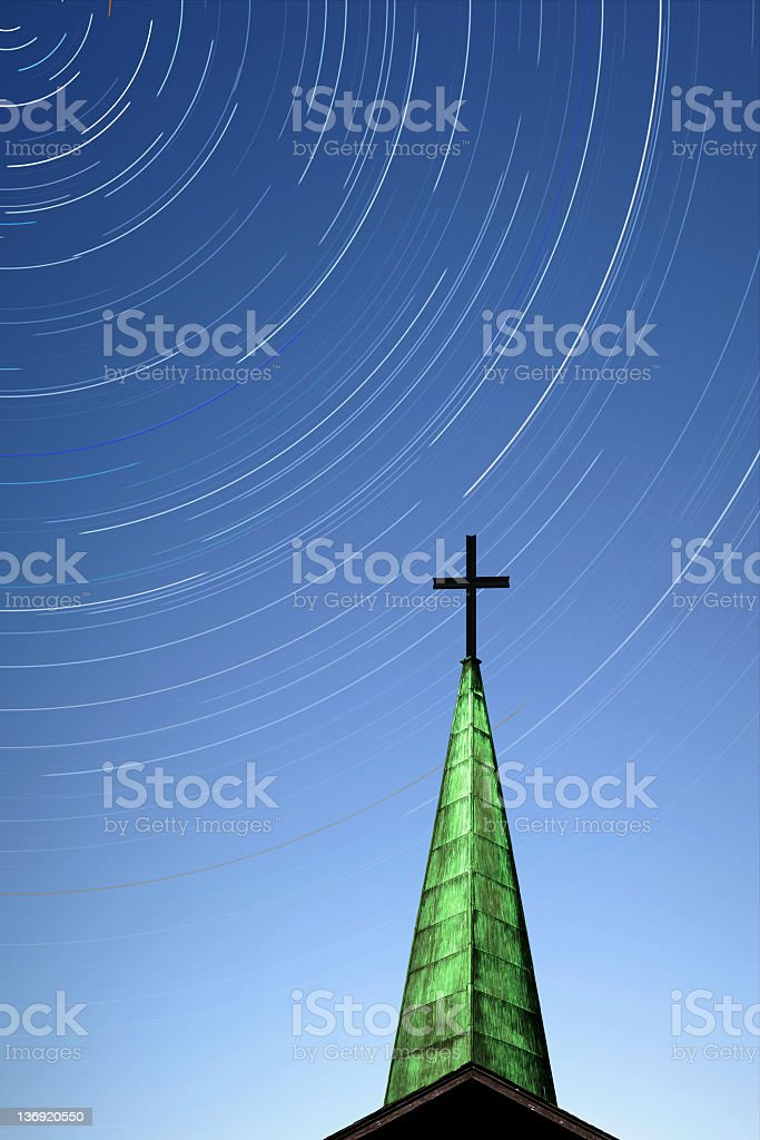XL cross and steeple with stars stock photo
