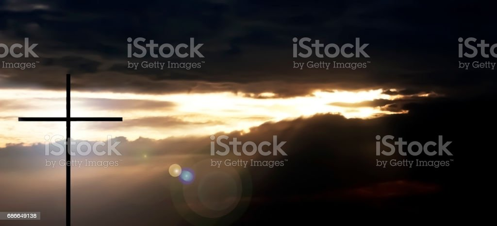 Cross and the Blessing Sunset. royalty-free stock photo