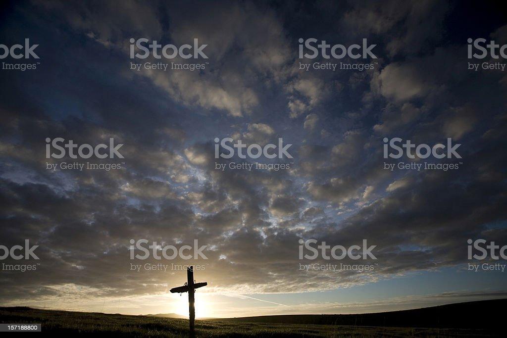 Cross at sunset royalty-free stock photo