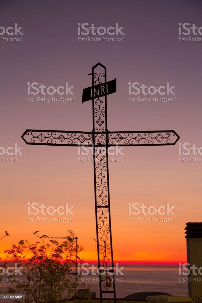 Cross at Sunset stock photo