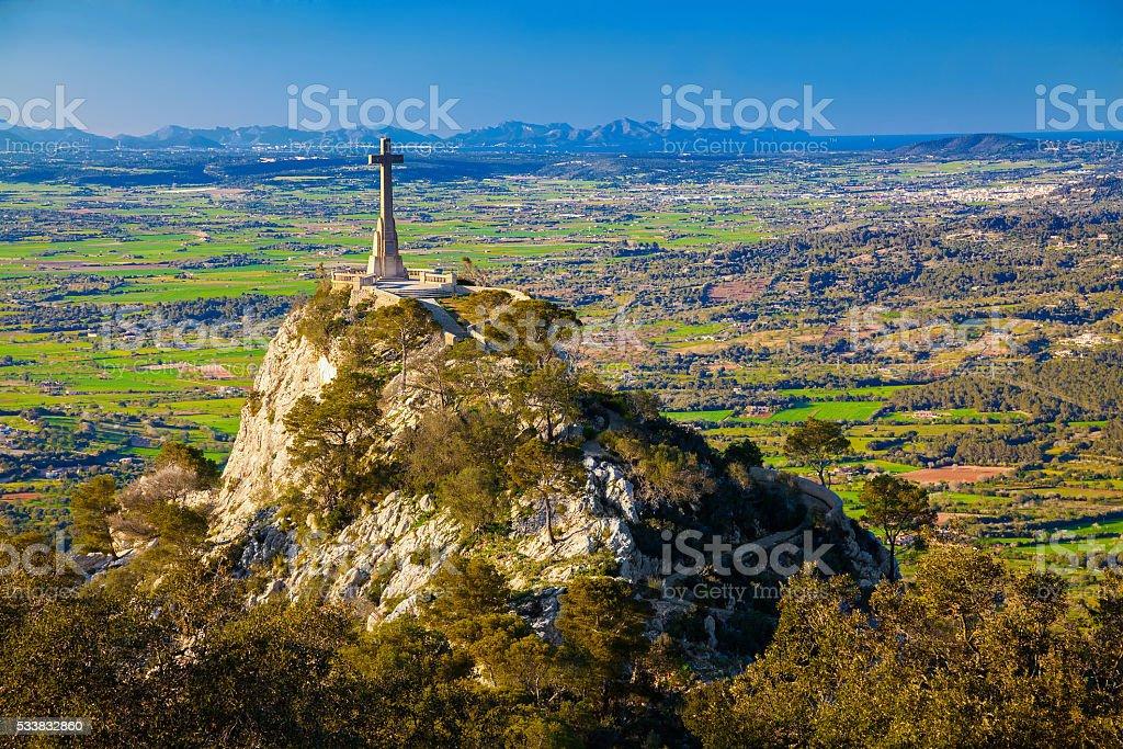 Cross at the Santuario de San Salvador stock photo