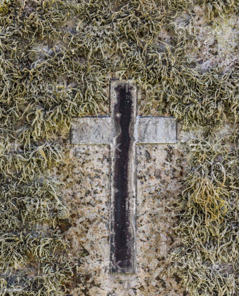 Cross at Zennor Cemetery stock photo