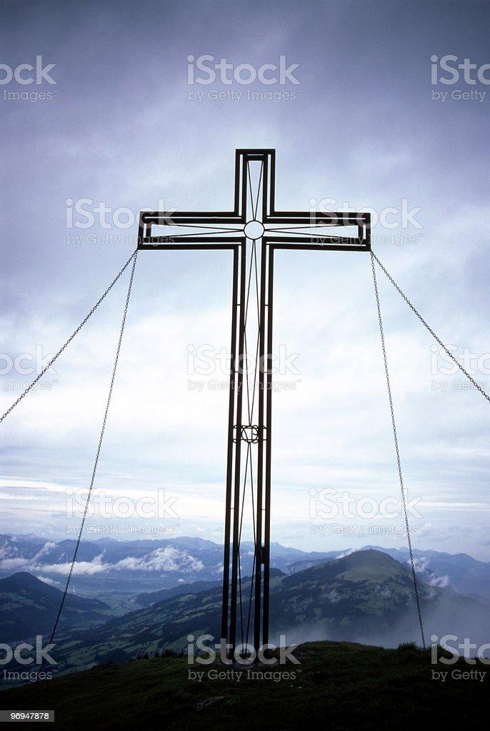 Cross atop a mountain royalty-free stock photo