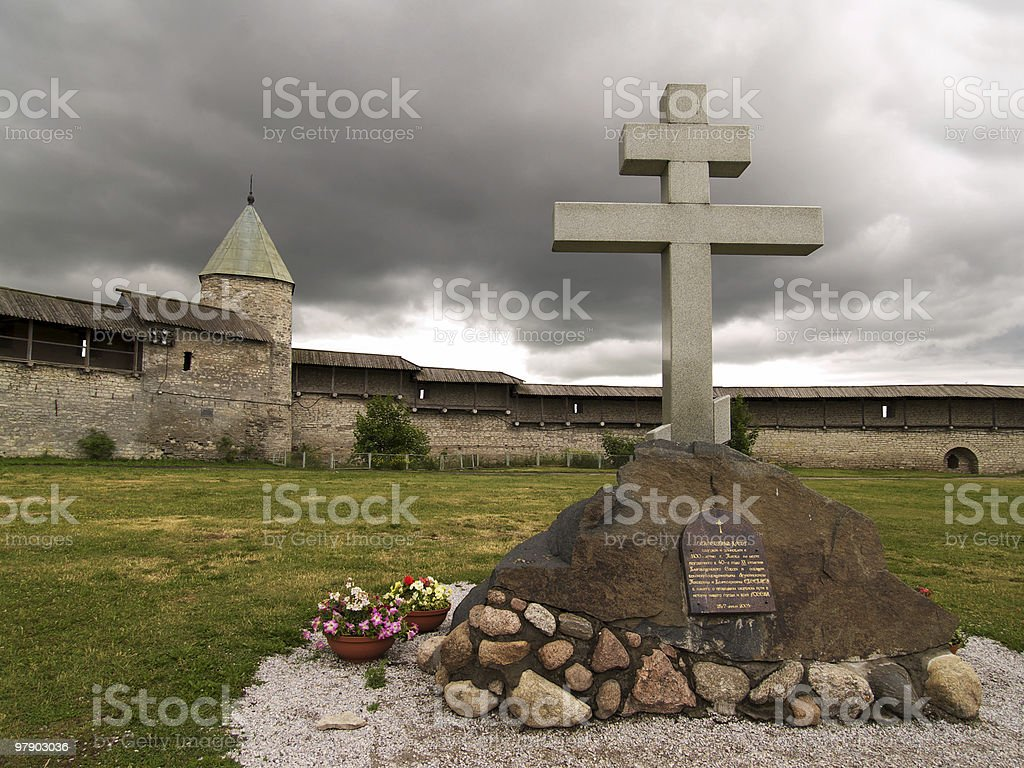 Cross before storm royalty-free stock photo