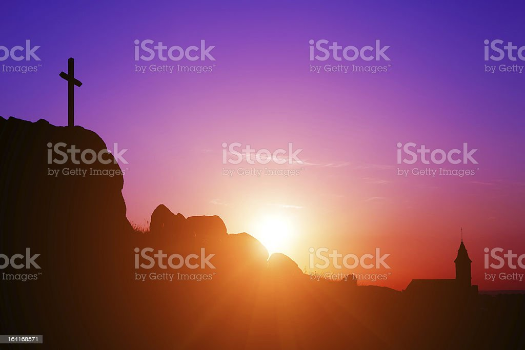 Cross, Church and Sunrise stock photo