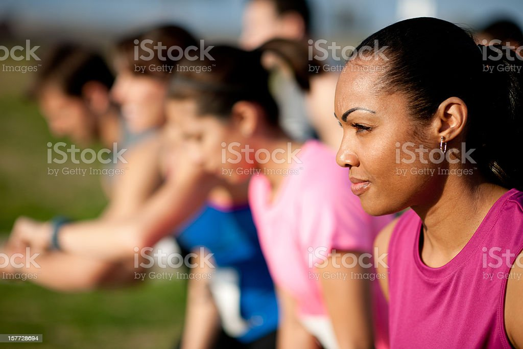 Cross country racers stock photo