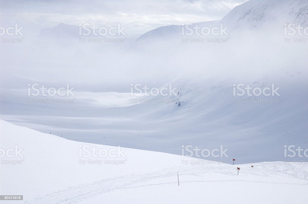 Cross country ski hiking trail Kungsleden, Lapland north Sweden royalty-free stock photo