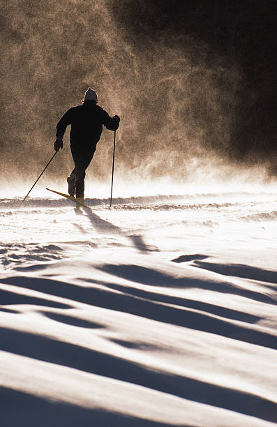 Cross Country Ski A male cross country skier goes through a gust of wind and snow on a sunny day. kananaskis country stock pictures, royalty-free photos & images