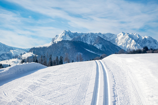 cross country ski track and the Kaiser