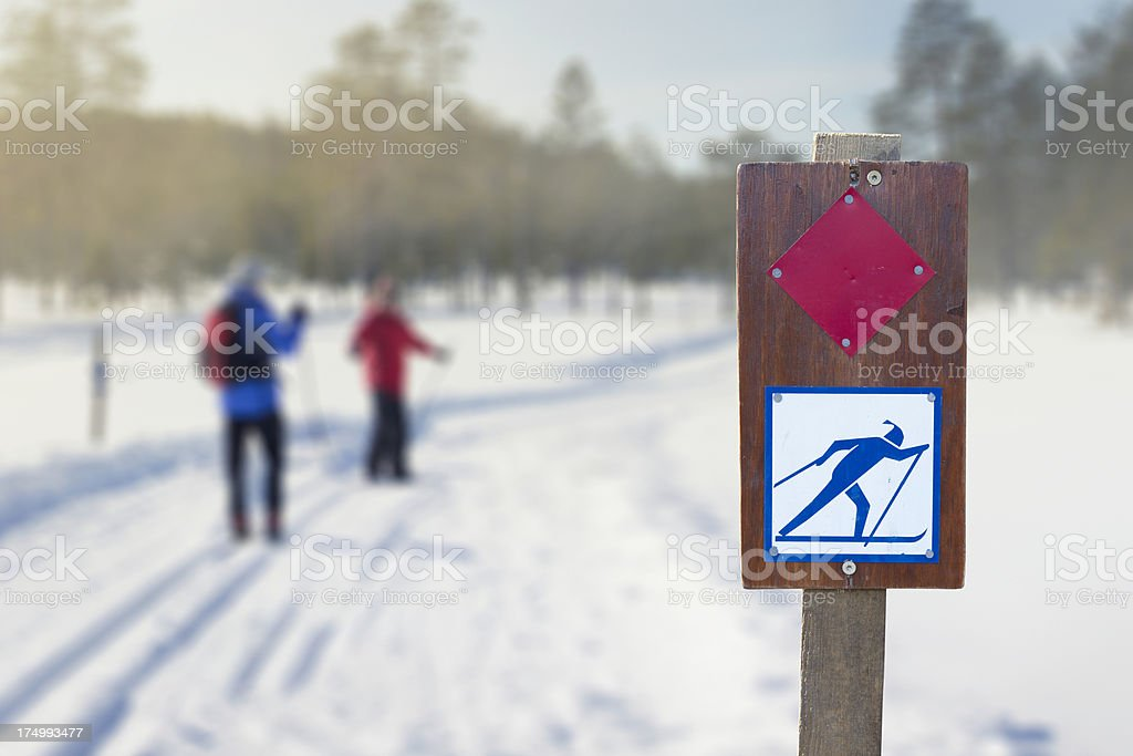 Cross country ski track stock photo