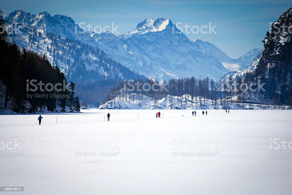 Cross Country Ski Tracks in Engadin stock photo