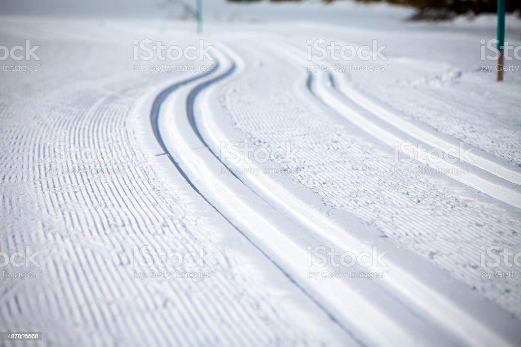 Cross Country Ski Tracks in Engadin stock photo