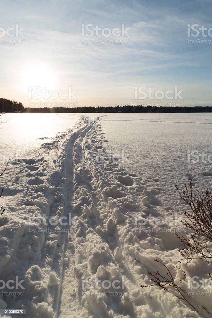 Cross Country Ski Tracks on Lake stock photo