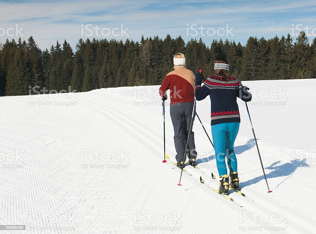Cross country skiers in the action stock photo