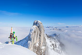 Cross country skiier - Freerider at the way to Summit - Mount Kampenwand, Alps