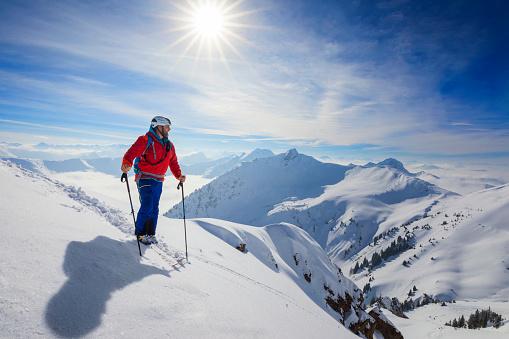 Cross country skiier - Ski touring in Alps