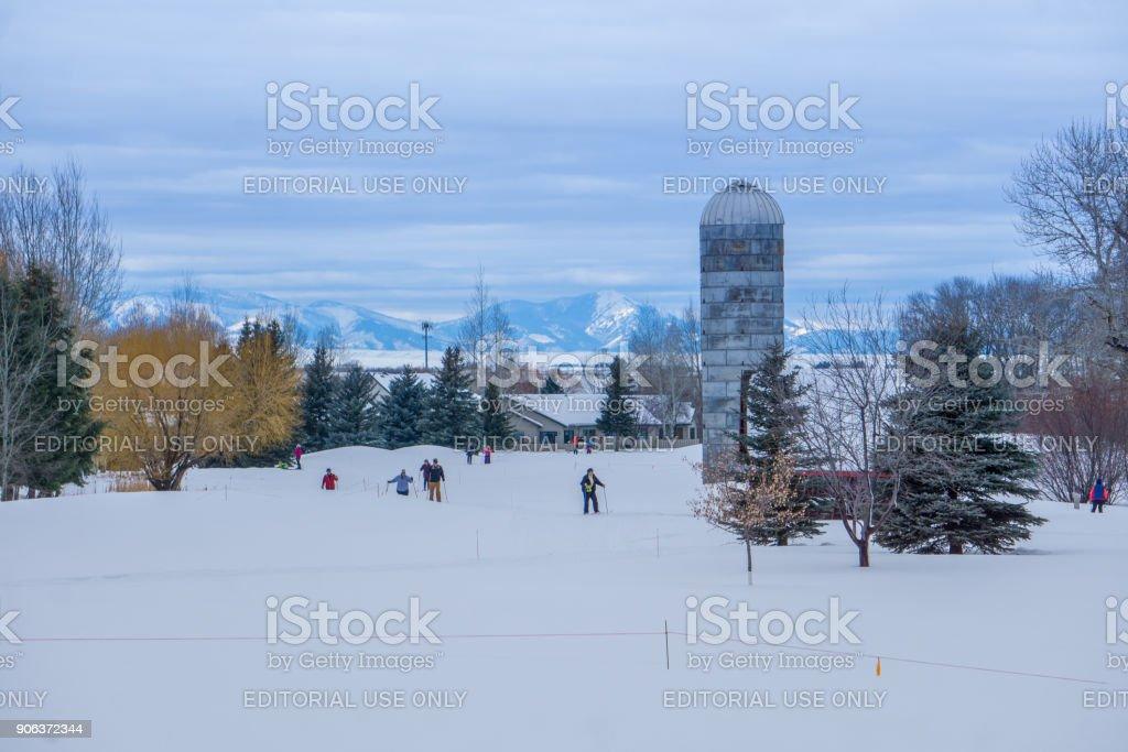 Cross Country skiing in Bozeman Montana stock photo
